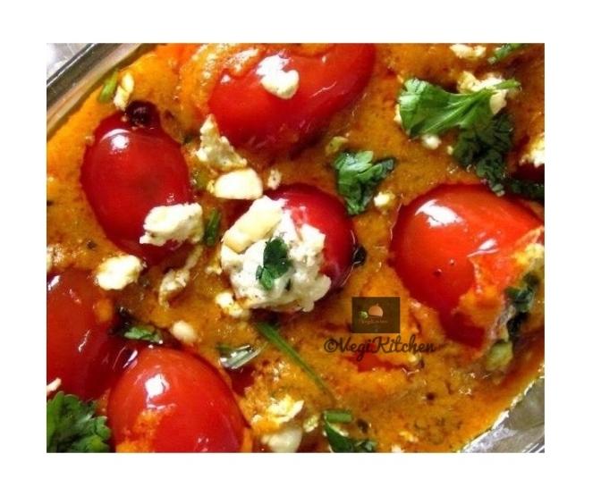 Tamatari Paneer Ki Nazakat aka Paneer Cheese with Tangy stuffed Tomato